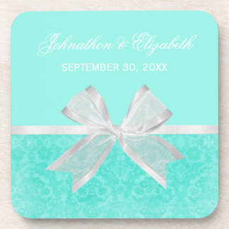 Wedding Announcement Chic Aqua Damask White Bow Beverage Coasters