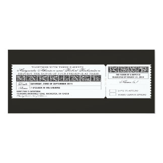 "wedding antique ticket invitation & rsvp design 4"" x 9.25"" invitation card"