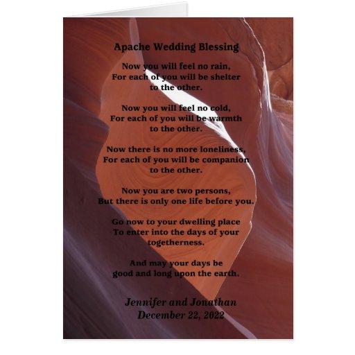 Wedding Apache Blessing Feel No Rain Inside v2 Greeting Card