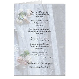 Wedding, Apache Blessing Now You Will Feel No Rain Card
