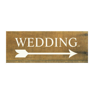 Wedding Arrow Vintage Inspired Old Wooden Sign Gallery Wrap Canvas