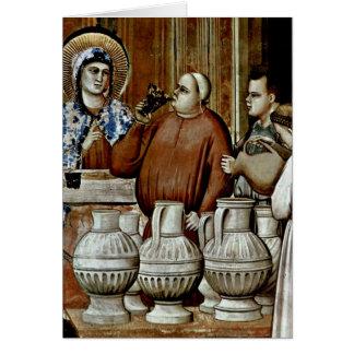 Wedding At Cana Detail By Giotto Di Bondone Greeting Card