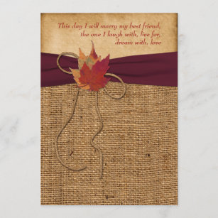 Wedding   Autumn Leaves   FAUX Burlap   Wine Invitation