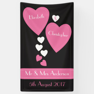 Wedding Backdrop / Photo Booth Black & Pink hearts