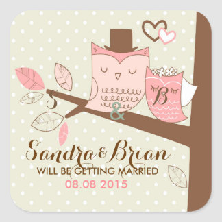 Wedding Background Cute Owl Pair On Tree-Brunch Stickers