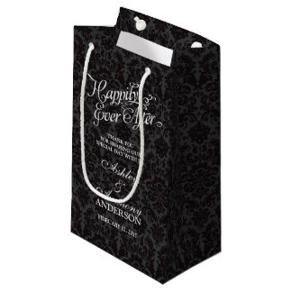 Wedding Bag Happily Ever After Black Damask Small Gift Bag