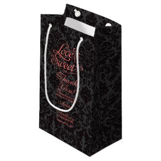 Wedding Bag Love is Sweet Coral Orange Black Small Gift Bag