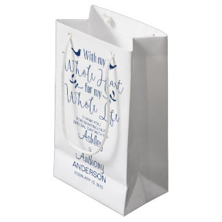 Wedding Bag With my Whole Heart Whole Life Navy Small Gift Bag