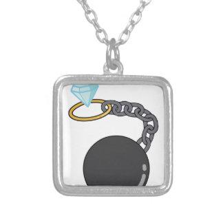 Wedding Ball & Chain Square Pendant Necklace