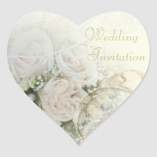 Wedding Bands, Roses & Lace Wedding Invitation Heart Sticker