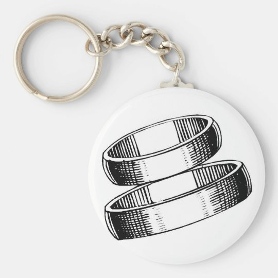 Wedding Bands Sketch Basic Round Button Key Ring