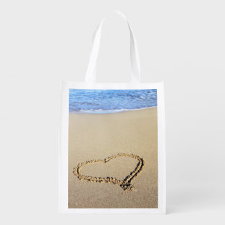 Wedding Beach Hearts In Sand Grocery Bag
