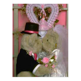 Wedding bears couple getting married first kiss postcard