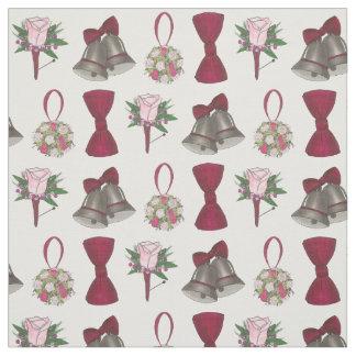 Wedding Bells Bridal Rose Flower Bowtie Fabric