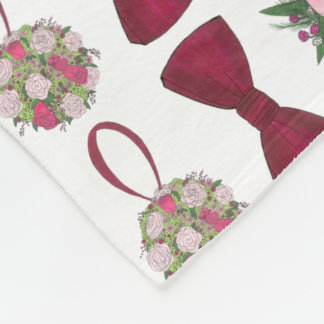 Wedding Bells Bridal Rose Flowers Bowtie Blanket