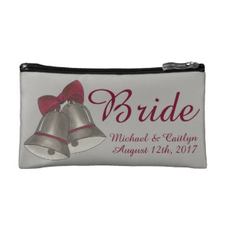 Wedding Bells BRIDE Personalized Bridal Gift Cosmetic Bag