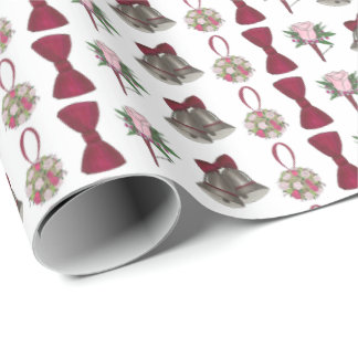Wedding Bells Bride Rose Bouquet Bowtie Gift Wrap Wrapping Paper