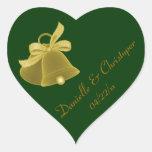 """""""Wedding Bells"""" - Dark Green [a] Heart Sticker"""