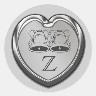Wedding Bells On Heart Monogram Sticker