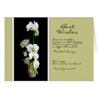 Wedding Best Wishes White Orchids Card