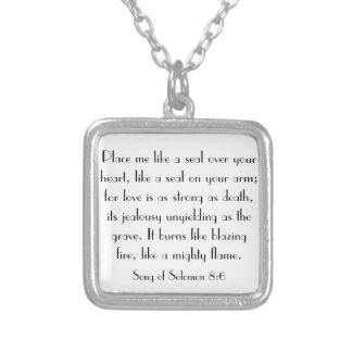 wedding bible verse Song of Solomon 8:6 Silver Plated Necklace