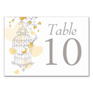 Wedding birds birdcage grey yellow table numbers table card