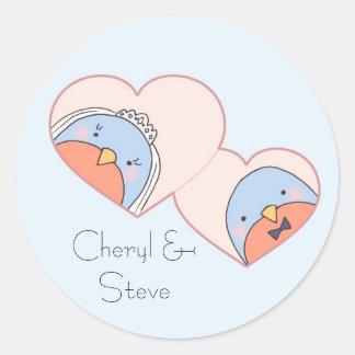 Wedding Birds in Hearts Blue Round Sticker
