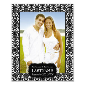 Wedding - Black and White Damask Border Art Photo