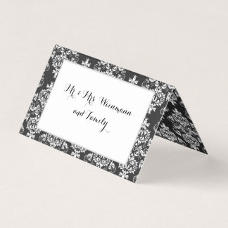 Wedding Black & White Damask Table Place Card