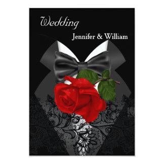 Wedding Black White Tuxedo Deep RED Rose 2 13 Cm X 18 Cm Invitation Card