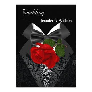 Wedding Black White Tuxedo Deep RED Rose 2 11 Cm X 16 Cm Invitation Card