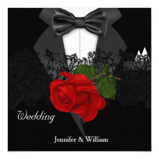 Wedding Black White Tuxedo Deep RED Rose 13 Cm X 13 Cm Square Invitation Card