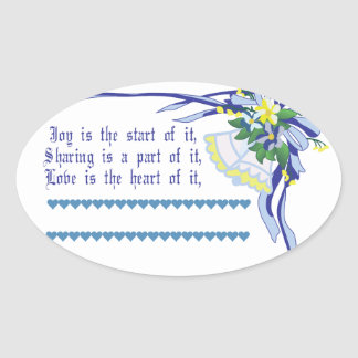 Wedding Blessing Oval Sticker