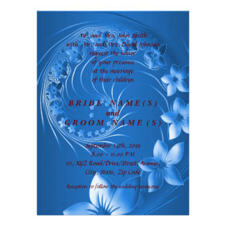 Wedding - Blue Abstract Flowers Personalized Invites