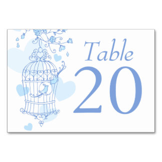 Wedding blue birds open birdcage table numbers table card