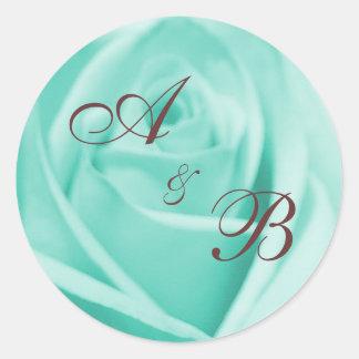 Wedding: Blue & Chocolate ... - Customized Round Sticker