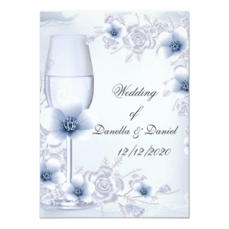 Wedding Blue Silver roses blossom 11 Cm X 16 Cm Invitation Card