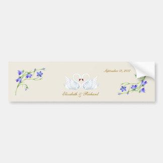 Wedding. Bluebells and swans Bumper Sticker