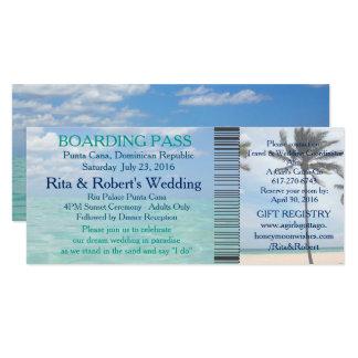 Wedding Boarding Pass Ticket Beach Destination Card
