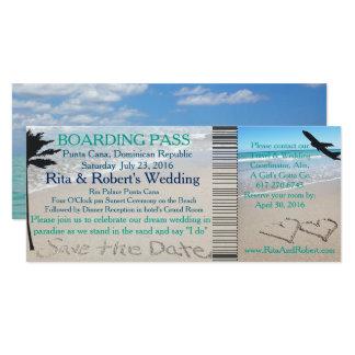 Wedding Boarding Pass Ticket Save the Date Ocean 10 Cm X 24 Cm Invitation Card