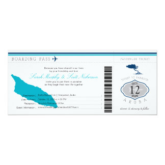 Wedding Boarding Pass to Aruba Card
