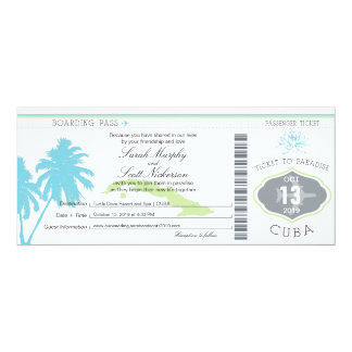 Wedding Boarding Pass to Cuba Card