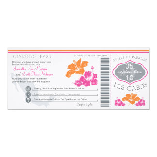 Wedding Boarding Pass to Los Cabos Mexico 10 Cm X 24 Cm Invitation Card