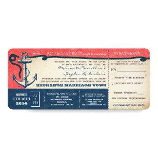wedding boarding pass-vintage tickets with RSVP 10 Cm X 24 Cm Invitation Card
