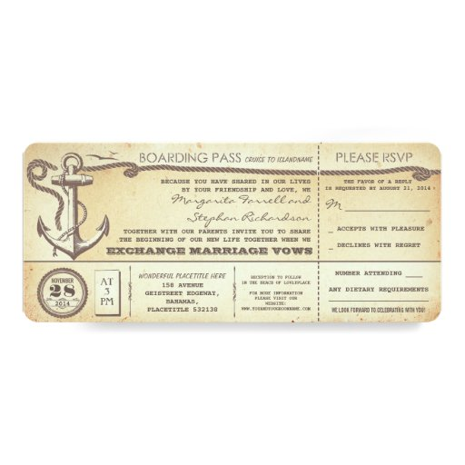 Wedding Boarding Pass Vintage Tickets With Rsvp Invites