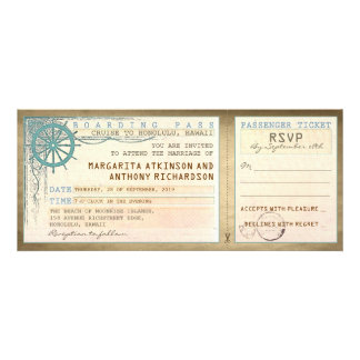 wedding boarding pass-vintage tickets with RSVP Announcements