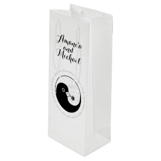 WEDDING BOTTLE GIFT BAG. b/w YinYang harmony dove Wine Gift Bag