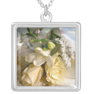 Wedding Bouquet Silver Plated Necklace
