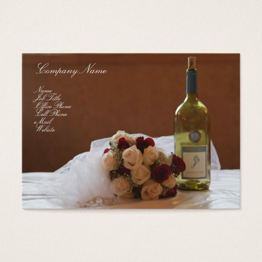 Wedding Bouquet & Wine Bottle business card