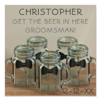 Wedding Bow Tie Mason Jars Funny Groomsman Request Magnetic Invitations
